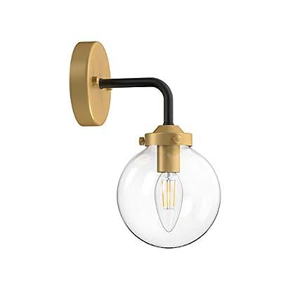 Ralbay Industrial Bedroom Wall Sconce Golden Indoor Wall Light Fixture Clear Glass Globe Wall Lamp for Bathroom Kitchen Living Room Vanity Hallway (Exclude Bulb)