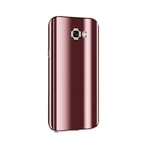 Samsung Galaxy A5-2017 Funda, Caja de Metal Chapado Funda Ultrafino para Espejo Funda Antideslizante Funda de galvanoplastia Funda Protectora Lujosa de 360 Grados Funda Delgado, Rosa Dorado,