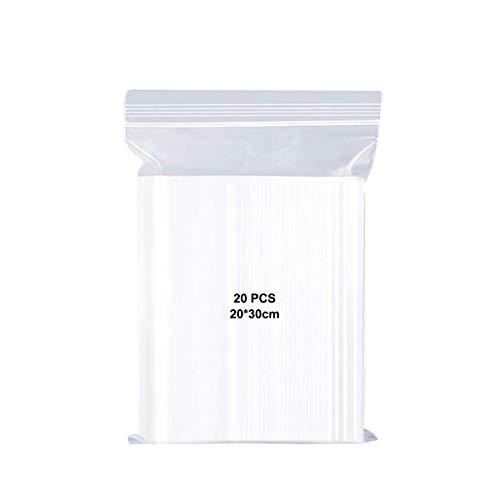 CCUCKY Bolsas de Plástico Resellables de 20 * 30 cm, Bolsa de Almacenamiento con Cierre Hermético para Alimentos, Joyas, Dulces, etc, 20 Piezas