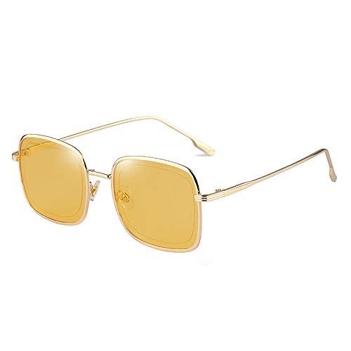 DLSM Moda Feminina Óculos de Sol Cuadrados Coloridas Coloridas Estilo Oceano AO AR Livre Óculos UV400 TENDICIA MASULINA-Amarillo