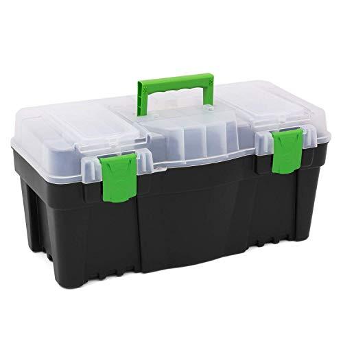 Prosper Plast Greenbox Boîte à Outils avec Plateau intérieur et Couvercle Organiseur 55,9 cm 5 Tailles
