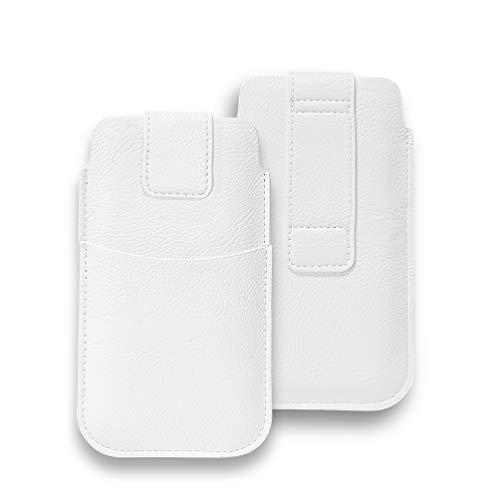 AXELENS Funda Cartera Universal para Cinturón en Cuero Sintético con Cierre de Gancho y Bucle para Teléfono Móvil de 4.8 a 5.1'' Pulgadas iPhone, Samsung, Huawei, OPPO, Xiaomi - Blanco