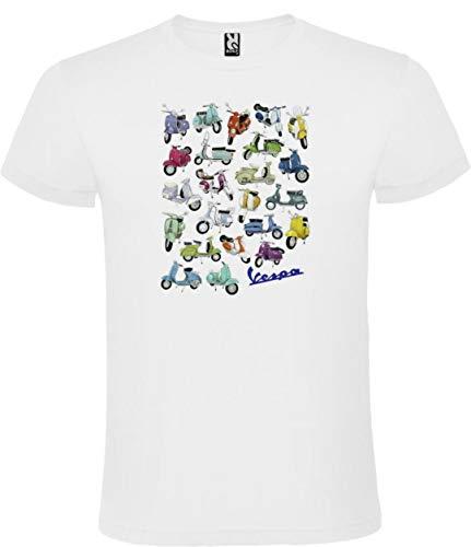 Camiseta Roly Blanca con Logotipo de Vespa Hombre 100% Algodón Tallas S M L XL XXL Mangas Cortas (XL)