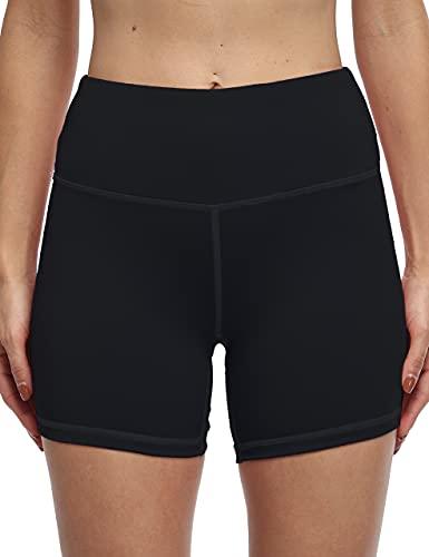 oyioyiyo High Waisted Biker Shorts for Women Workout Yoga Running Compression Shorts (KH510-Black-L)