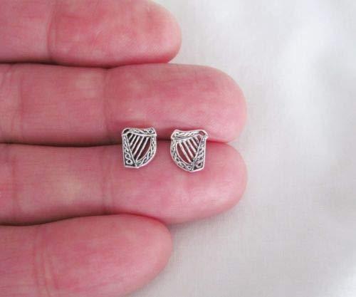 Sterling Silver 9mm Celtic Harp Post Stud Earrings. - Jewelry Accessories Key Chain Bracelet Necklace Pendants