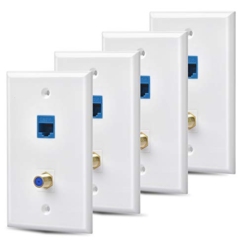 HuaHengHT Ethernet Coax Wall Plate Outlet 4 Packs 1 Cat6 and 1 Gold-Plated Cable TV Coax F Type Port RJ45 Network Female to Female Keystone Wall Inline Coupler Jack Plates Blue