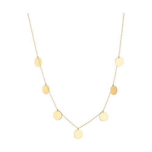 IDENTIM ® Plättchen Halskette 333 Gold Platten Kette Gravurplatte 8 Karat Plättchenkette 49261