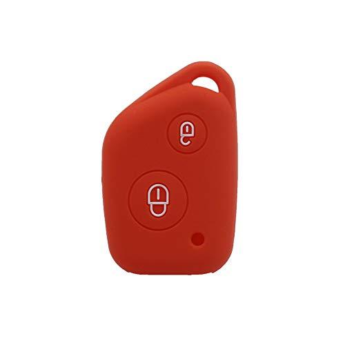 LOOIUEX Silicone Key Cover Funda de Silicona para Llave de Coche para Peugeot 106205206306405406 para Citroen Berlingo Xsara Picasso Saxo 2 Botones, Rojo