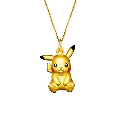 Gazaar Collier avec pendentif en forme d'elfes Pikachu plaqué or 18 carats - Pour les fans d'anime - Bijoux pour hommes et femmes - Décoration quotidienne créative