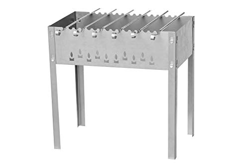 Mustang Schaschlik Grill | Holzkohlegrill | Gartengrill 50x30x50cm | inkl. 6 Spieße
