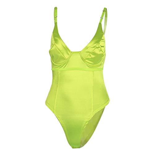 Frauen Sexy Sling Deep V Neck Ärmelloser Body Stretch Trikot Body Suit Damen Tops Trikot Skinny Jumpsuit Yellow Rose Red