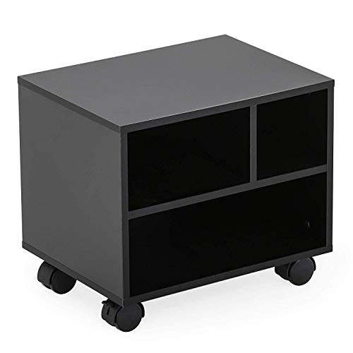 FITUEYES Mobile Under Desk Printer Stand with Wheels Rolling Printer Cart with 3 Compartments Storage Spaces for Home Office Black PS304003WB