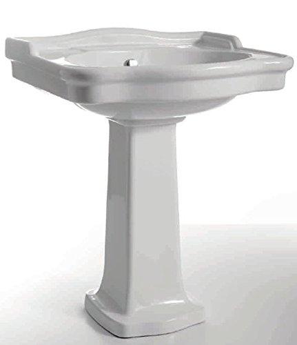 Sanitari bagno lavabo e colonna Windsor bianco di ceramica Cielo