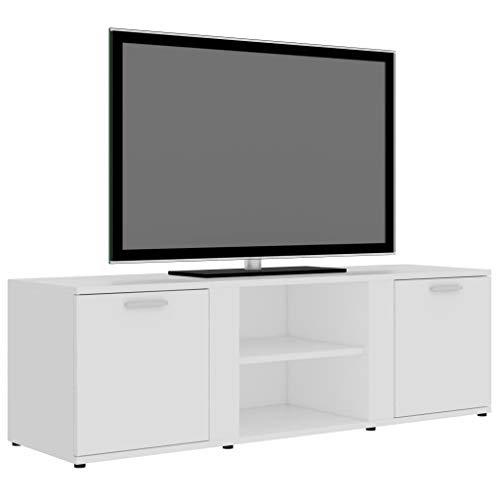 Tidyard TV-Schrank HiFi-Schrank TV-Lowboard Fernsehschrank Mit 2 Türen und 2 offenen Fächern Weiß/Grau/Hochglanz-Grau/Hochglanz-Weiß 120x34x37 cm Spanplatte