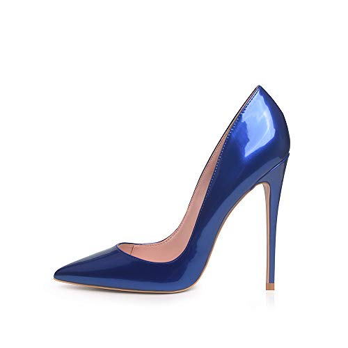Elisabet Tang High Heels, Womens Pointed Toe Slip on Stilettos Party Wedding Pumps Basic Shoes RB 9 Royal Blue