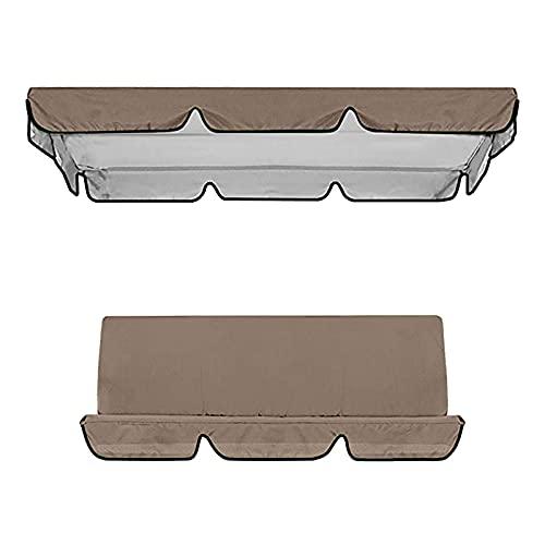Aunye Ersatzdach, 1 Universal Replacement Canopy und 1 Sitzbezug for Garden Swing Seats, wasserdichtes Dach für Gartenschaukel, UV-Schutz, 164×114×15cm (Braun)