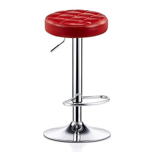 WYJW Fußstütze für Barhocker mit verstellbarem PU-Sitz und Gasfeder 24 & Prime~ 31 & Prime; für Küche Bar Salon Spa Clinic Verchromter Tellerfuß max. Laden Sie 440lb