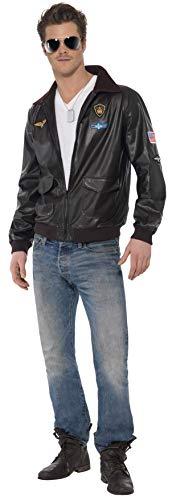 Original Lizenz Top Gun Bomberjacke Kostüm mit Motiven für Herren Herrenkostüm Pilot Pilotenjacke Herrenjacke Gr. 38/40 (S), Größe:S
