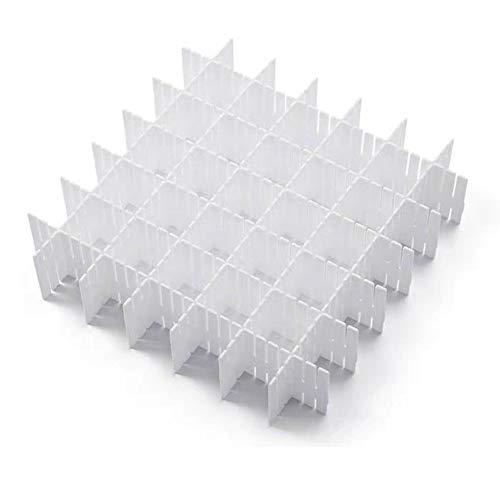 JSF White Plastic Grid Drawer Dividers, DIY Adjustable Dresser Drawers Organizer, 12pcs Sock Underwear Separators for Kids, Women & Men (32.4 x 7cm)