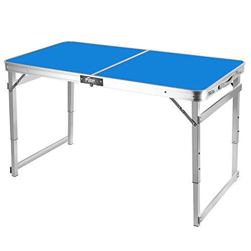 Mesa plegable al aire libre, mesa plegable portátil, cartel de cabina en auge, mesa plegable de aleación de aluminio stall-blue
