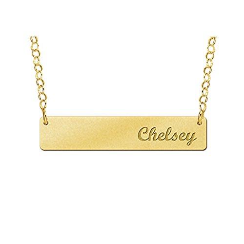 Naamforever naamketting met gravure - grote rechthoekige hanger met uw naam incl. ketting van goud