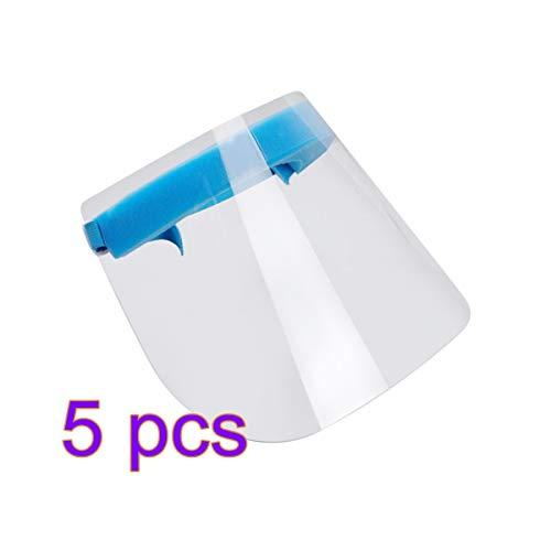 Exceart Protector Facial de Seguridad Visera Transparente Máscara Protectora Protección contra La Saliva Visera del Sombrero Anti Escupir Máscara Antisalpicaduras de Aceite (Transparente) 5 Piezas