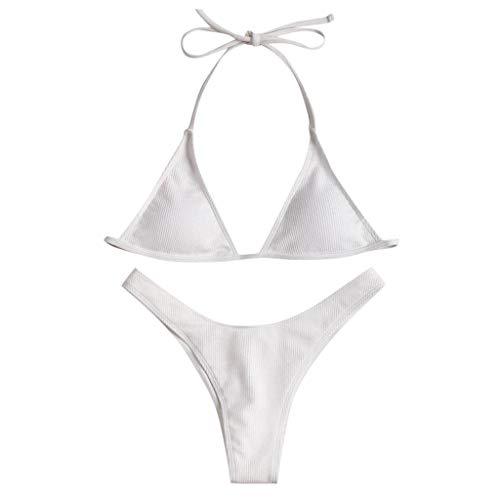 ZYZS Bikini para mujer de un solo color, acolchado, talle bajo, tanga impreso, bikini de dos piezas Blanco L