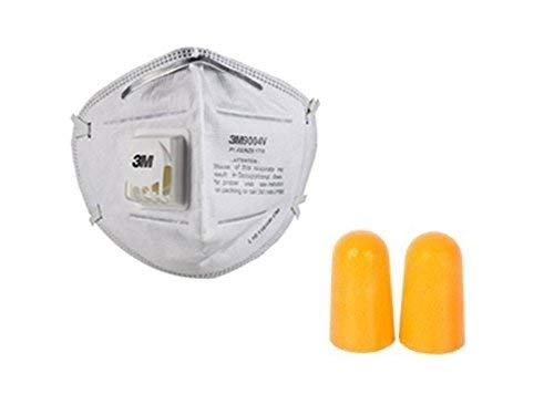 3M Anti Pollution Mask 9004V Dust Pollution, Disposable Mask and Respirator with Valve (Reusable & Particulate Mask) with 3M 1100 Uncorded Foam Earplugs by Krishna Inc.