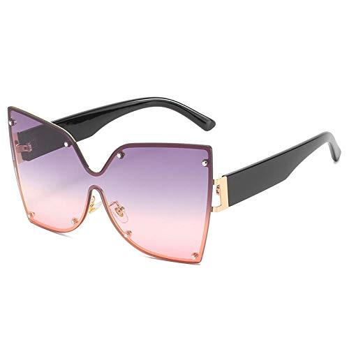DLSM Fashion Oneage One Pieces Gafas de Sol para Hombre Blue Lens Marco Gafas de Sol Masculinas Masculinas Masculinas UV400 Mariposa-C3 Gris Rosa