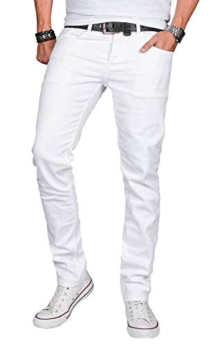 A. Salvarini Designer Herren Jeans Hose Basic Stretch Jeanshose Regular Slim [AS040 - Weiss - W38 L32]