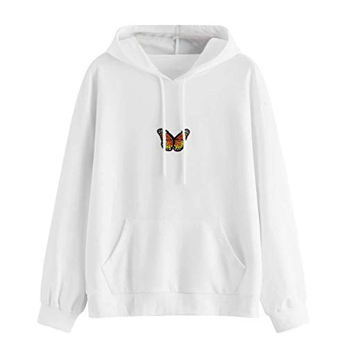 Janly Clearance Sale Blusa de manga larga para mujer, con diseño de mariposas, manga larga, bolsillo con capucha, túnica para mujer, para Pascua, Día de San Patricio, regalos, blanco, L