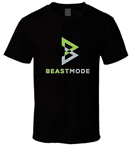Beast Mode Marshawn Lynch Black Tee Shirt Mens Round Neck Cotton T-Shirt Short Sleeves Bottoming Tops Clothing