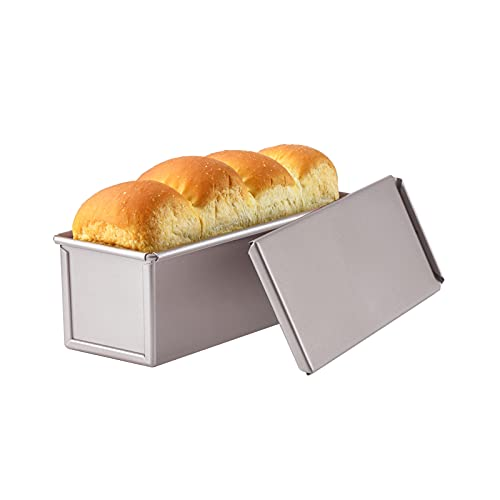 CHEFMADE Mini Pullman Loaf Pan with Lid, 0.66Lb Dough Capacity Non-Stick Rectangle Flat Toast Box for Oven Baking 2.8' x 8.1'x 2.8'(Champagne Gold)