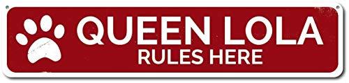 TammieLove Sign872 Hundemarke Queen Pet Name Rules Here, Pfotenabdruck, für drinnen und draußen, 40,6 x 10,2 cm