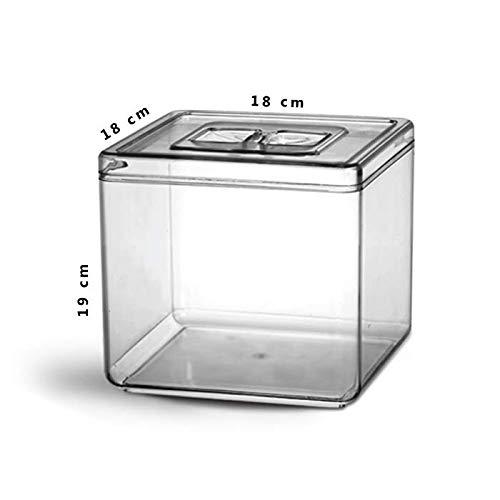 Pote Quadrado Pequeno Ps Cristal 5L tampa Multiuso reforçado