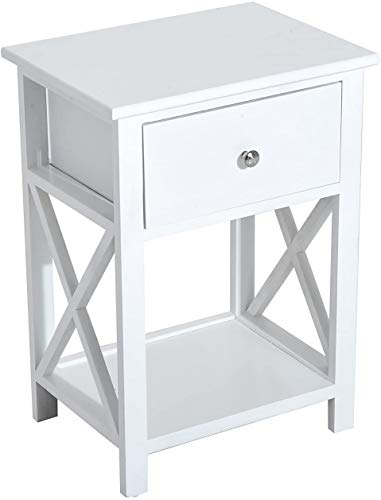 homcom Comodino per Camera da Letto Tavolino d'Appoggio con Cassetto in Legno Bianco, 40 x 30 x 55cm
