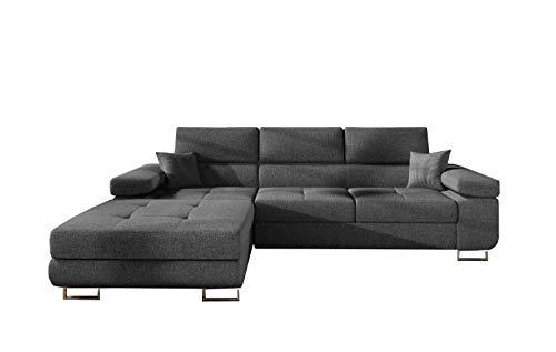 MOEBLO Ecksofa mit Schlaffunktion mit Bettkasten Couch L-Form Polstergarnitur Wohnlandschaft Polstersofa mit Ottomane Couchgranitur - Alvaro (Anthrazit (Inari 96), Ecksofa Links)
