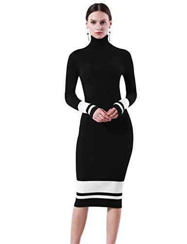 PrettyGuide Women Slim Fit Ribbed Turtleneck Long Sleeve Midi Knit Sweater Dress Black with White M