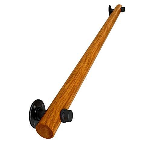 LHNLY-Pasamanos Baranda de Equilibrio con Soportes de Hierro Forjado, barandillas de Escalera de Madera Maciza for Interiores y Exteriores - Montaje en Pared de barandas Decorativas