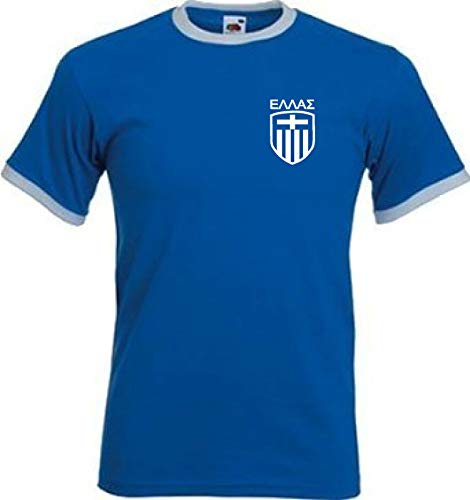 Greece Greek Griechisches Retro Art-Fußball-Team-T-Shirt Griechenlands (X-Large)