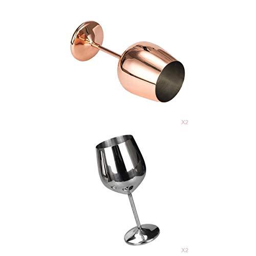 Bonarty Paquete de 4 Copas de Vino de Acero Inoxidable para Cóctel de Vino Tinto Blanco con Tallo, 500 Ml