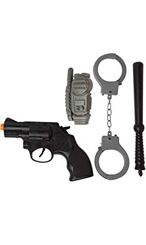 Kit de Policía: Pistola, Walkie, Esposas y Porra en 2 Modelos Surtidos