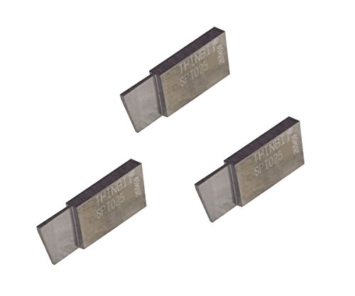 THINBIT 3 Pack SPT025D2 'S' Series, Uncoated Carbide, Parting Insert for Steel, Cast Iron and Stainless Steel with Interrupted Cuts