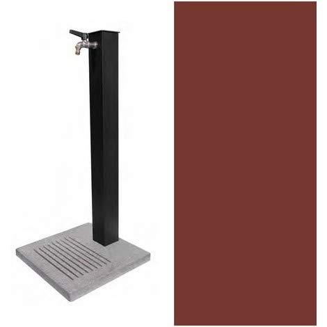 BEL-FER Fontana in Metallo da Giardino Completa di Base in Cemento con Fessure per Scarico a Perdere, Modello 42/QBM Colore Ruggine