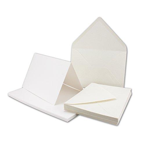 Kartenpaket DIN B6-50er Set - 50 Doppelkarten mit Umschlägen in Naturweiß/Creme - geprägte Strukturumschläge mit Faserneinschlüsse - Ideal für Grußkarten und Einladungen