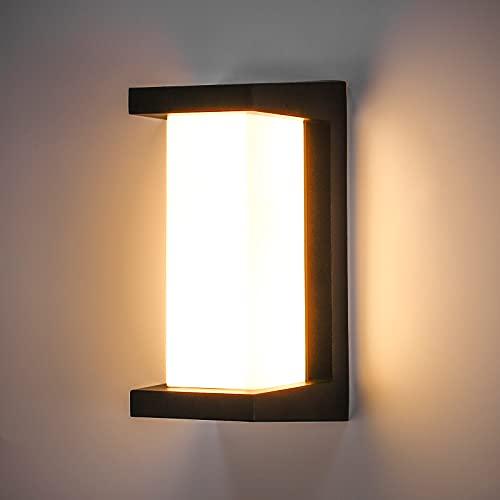 Leelike 10W LED Aplique de pared para exteriores, impermeable IP65 Aplique de pared de doble capa blanco cálido 3000K Luz para exteriores Lámpara de pared para exteriores moderna