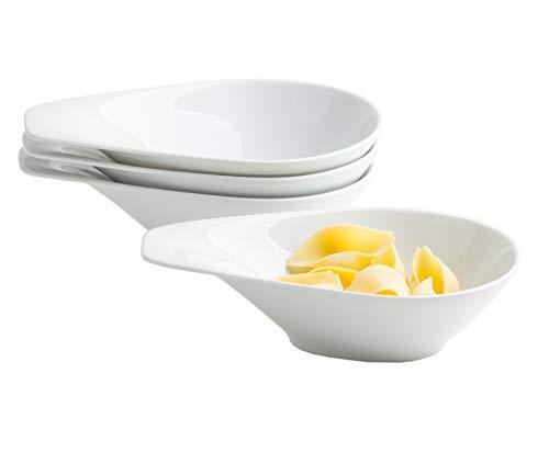 Kahla 15B213A90015C Elixyr Porzellan Schalen Schüssel-Set oval 4-teilig Schüsseln mit Griff modern Suppenschüssel Müslischüssel für 4 Personen