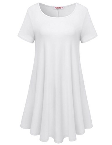BELAROI Womens Comfy Swing Tunic Short Sleeve Solid T-Shirt Dress (M, White)