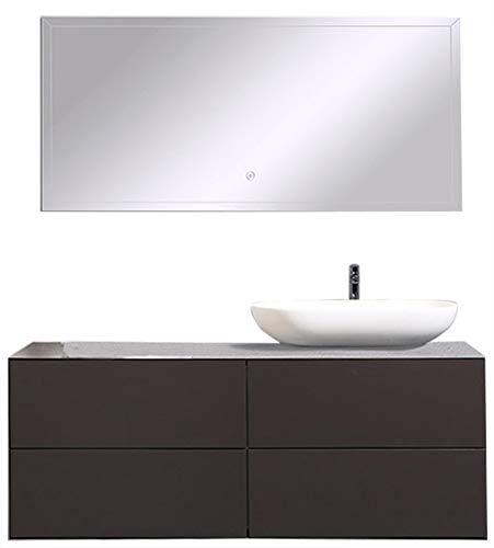 Badmöbel Milou 1200 Coffee matt -ohne zusätzl. Blende, Mit Spiegelschrank BS120, Mit Waschbecken O-540 matt