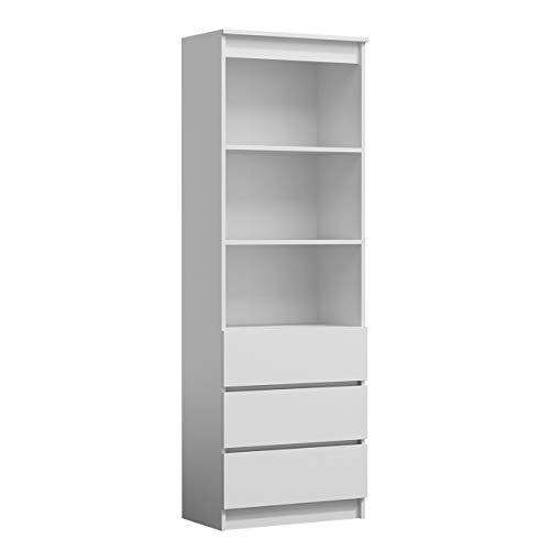 Mirjan24 Standregal Harvard RS-60, Bücherregal mit 3 Fächer und 3 Schubladen, Aktenregal Universal Regal Schranke (Weiß)